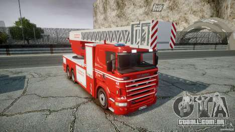 Scania Fire Ladder v1.1 Emerglights blue-red ELS para GTA 4 vista interior