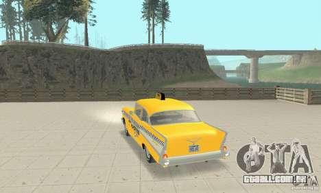 Chevrolet Bel Air 4-door Sedan Taxi 1957 para GTA San Andreas traseira esquerda vista
