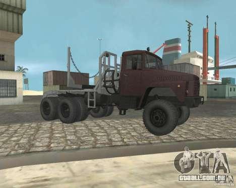 Transportador de madeira KrAZ-255 para GTA San Andreas vista direita