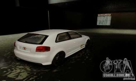 Audi S3 para GTA San Andreas vista inferior