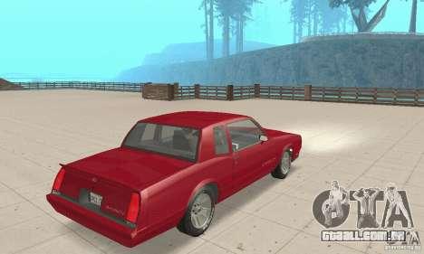 Chevrolet Monte Carlo SS 1986 para GTA San Andreas esquerda vista