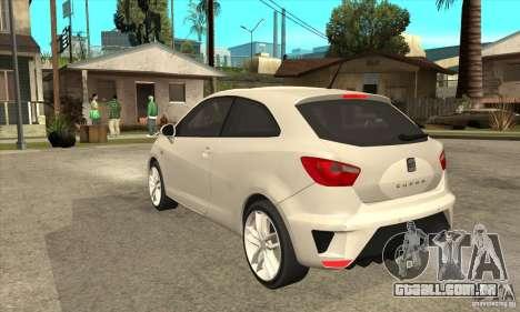 Seat Ibiza Cupra 2009 para GTA San Andreas traseira esquerda vista