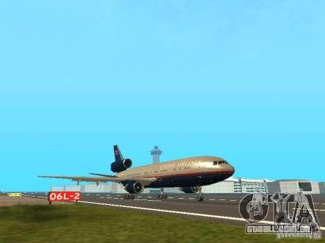 McDonell Douglas DC10 United Airlines para GTA San Andreas esquerda vista