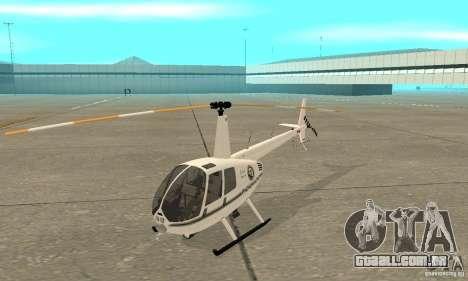Robinson R44 Raven II NC 1.0 branco para GTA San Andreas esquerda vista