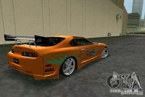 Toyota Supra Fast and the Furious para GTA Vice City vista direita