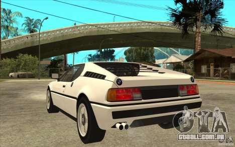 BMW M1 1981 para GTA San Andreas traseira esquerda vista