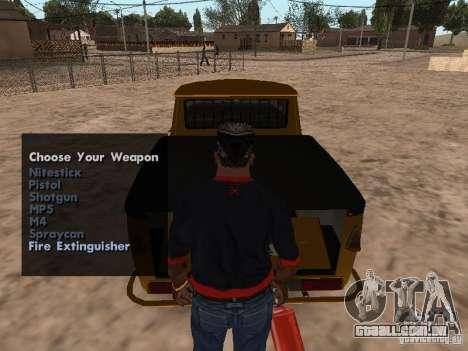 Armas no porta-malas para GTA San Andreas terceira tela