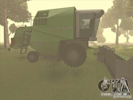 Deutz Harvester para GTA San Andreas traseira esquerda vista