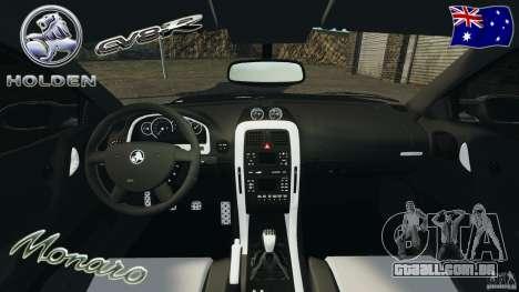 Holden Monaro CV8-R para GTA 4 vista de volta