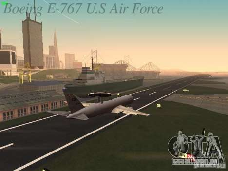 Boeing E-767 U.S Air Force para GTA San Andreas vista inferior