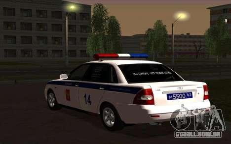 LADA 2170 polícia para GTA San Andreas traseira esquerda vista
