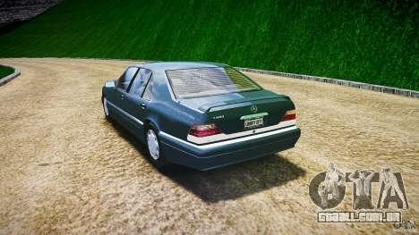 Mercedes Benz SL600 W140 1998 higher Performance para GTA 4 traseira esquerda vista