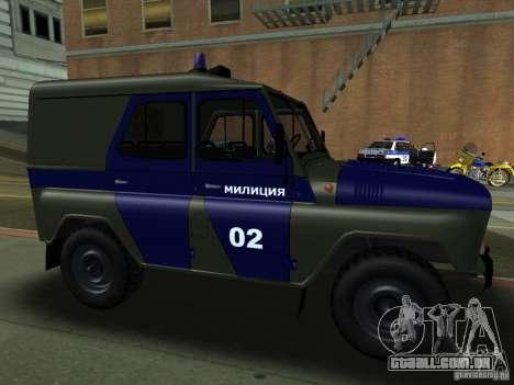 Polícia de 3151 UAZ para GTA San Andreas vista traseira
