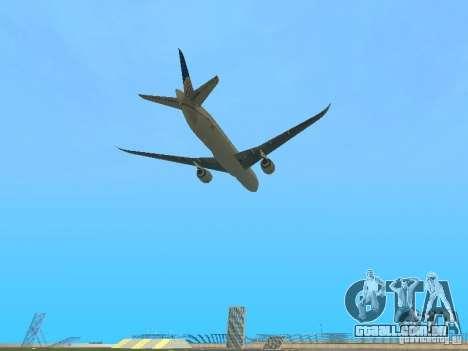 Boeing 787 Dreamliner United Airlines para GTA San Andreas vista traseira