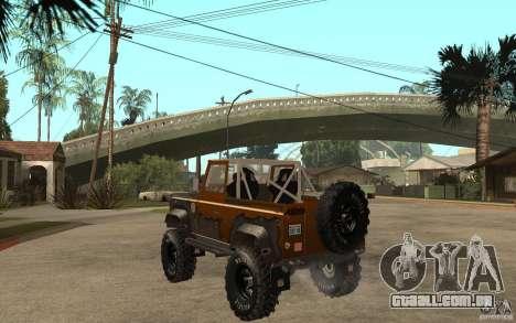 Land Rover Defender Extreme Off-Road para GTA San Andreas traseira esquerda vista