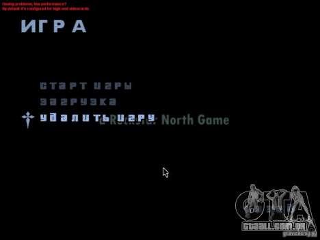 Uma tela de vídeo no menu principal para GTA San Andreas segunda tela