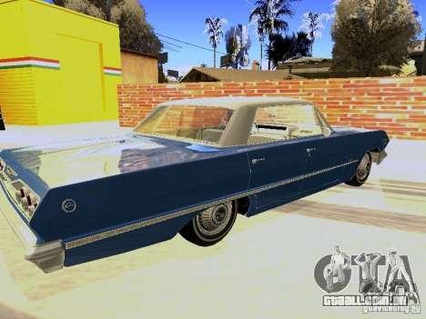 Chevrolet Impala 4 Door Hardtop 1963 para GTA San Andreas traseira esquerda vista