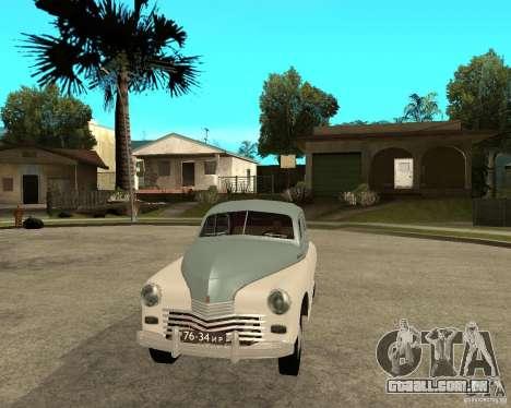 GAZ M20 Pobeda para GTA San Andreas vista traseira