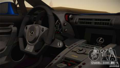 Lexus LFA Nürburgring desempenho pacote 2011 para GTA San Andreas vista interior