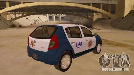 Renault Sandero Police LV para GTA San Andreas vista direita