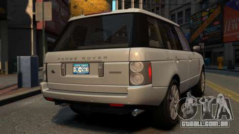 Range Rover Supercharged para GTA 4 traseira esquerda vista