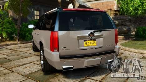 Cadillac Escalade ESV 2012 para GTA 4 traseira esquerda vista