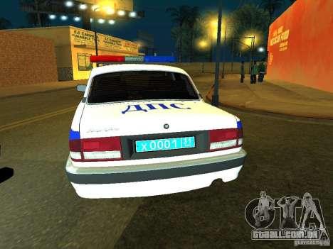 GAZ 31105 polícia para GTA San Andreas traseira esquerda vista