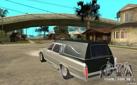 Cadillac Fleetwood 1985 Hearse Tuned para GTA San Andreas traseira esquerda vista