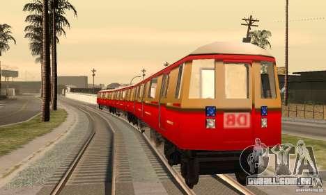 Liberty City Train DB para GTA San Andreas traseira esquerda vista
