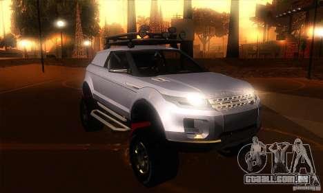 Land Rover Evoque para GTA San Andreas vista traseira