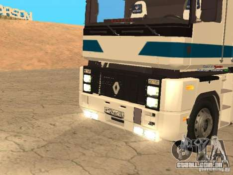 Renault Magnum Sommer Container para GTA San Andreas vista traseira