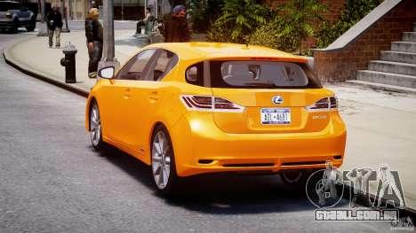 Lexus CT200h 2011 para GTA 4 traseira esquerda vista