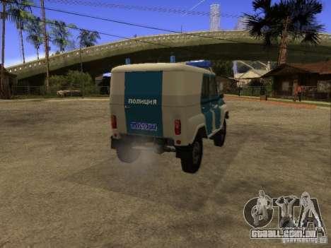 UAZ 31519 polícia para GTA San Andreas traseira esquerda vista