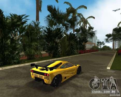 McLaren F1 LM para GTA Vice City vista traseira esquerda