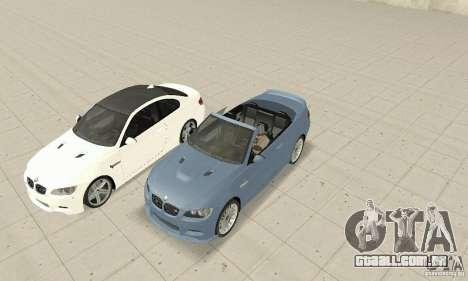BMW M3 2008 para GTA San Andreas traseira esquerda vista