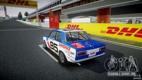 Datsun Bluebird 510 1971 BRE para GTA 4 traseira esquerda vista