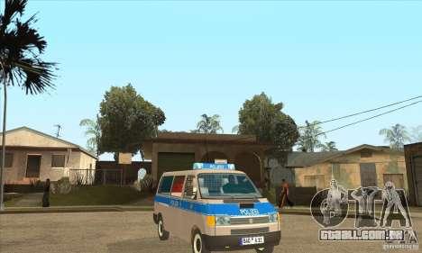 Volkswagen Transporter T4 German Police para GTA San Andreas vista traseira