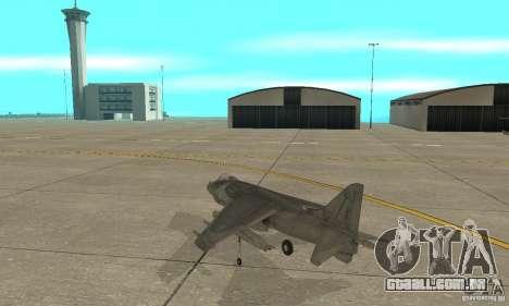 AV-8 Harrier para GTA San Andreas traseira esquerda vista
