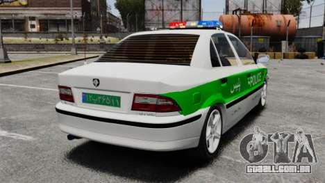 Iran Khodro Samand LX Police para GTA 4 traseira esquerda vista
