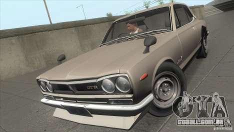 Nissan Skyline 2000 GT-R Coupe para GTA San Andreas vista traseira