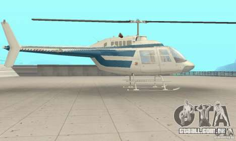 Bell 206B JetRanger II para GTA San Andreas traseira esquerda vista