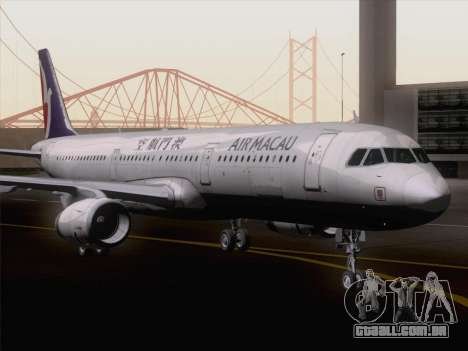 Airbus A321 Air Macau para GTA San Andreas traseira esquerda vista