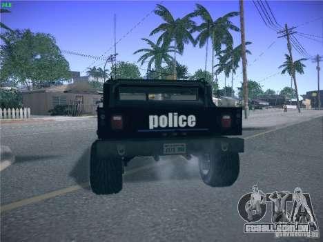 Hummer H1 1986 Police para GTA San Andreas traseira esquerda vista