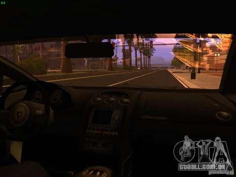 Lamborghini Gallardo Underground Racing para GTA San Andreas vista interior