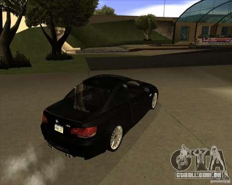 BMW M3 Convertible 2008 para GTA San Andreas vista traseira