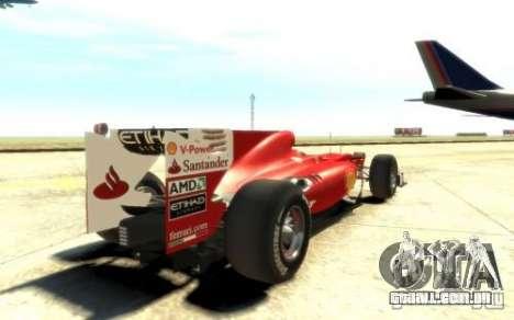 2010 Scuderia Ferrari F10 para GTA 4 traseira esquerda vista