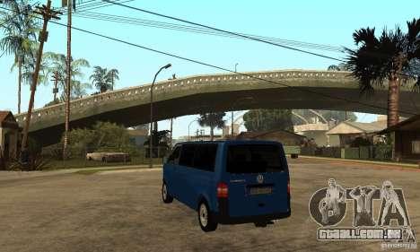 VW Transporter T5 2.5 TDI long para GTA San Andreas traseira esquerda vista