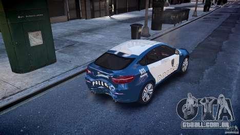 BMW X6M Police para GTA 4 vista inferior