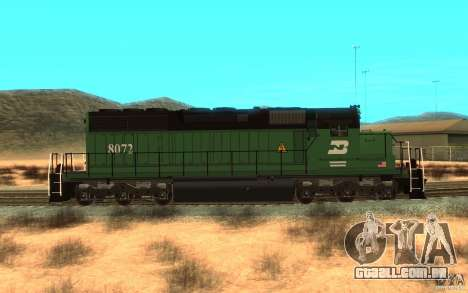 Locomotiva SD 40 Burlington Northern 8072 para GTA San Andreas esquerda vista