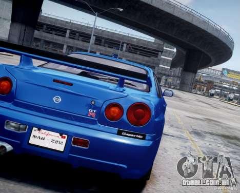 Nissan Skyline GT-R R34 Mspec para GTA 4 vista de volta